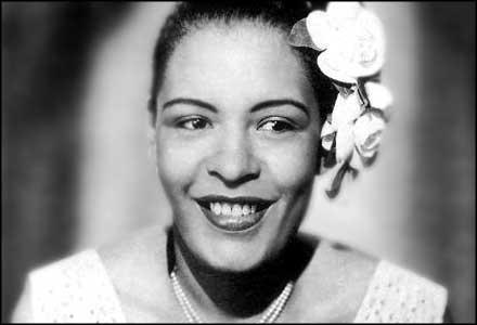Billie Holliday with gardenias in her hair