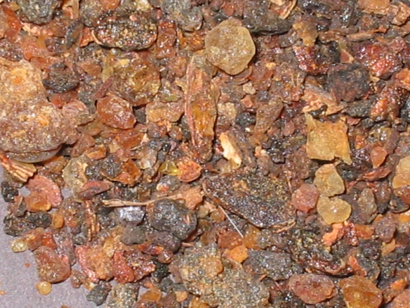 Myrrh in its natural form before it undergoes steam distillation to produce an essential oil