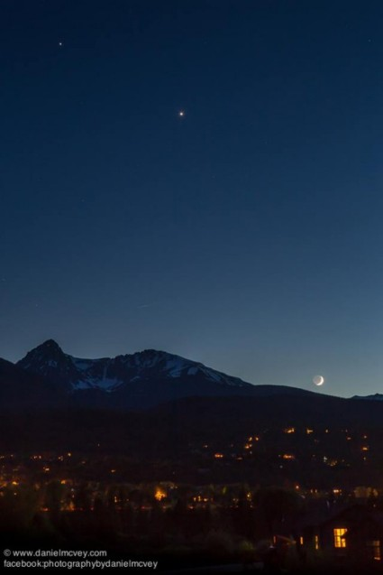 Moon, Venus, Jupiter on June 18, 2015 by Daniel McVey in Silverthorne, Colorad0 - via earthsky.org