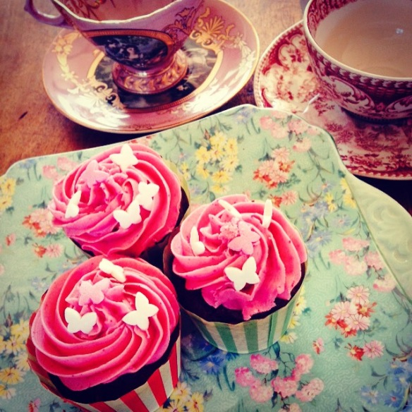 Cups of tea, vegan cupckaes and natural perfume