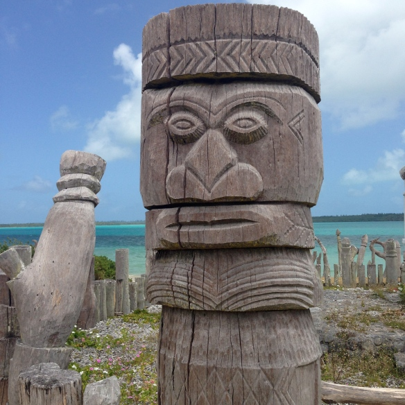 Stone totems protecting a scared site in St Maurice Bay