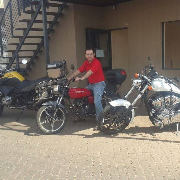 Andre rocking the motorbike in South Africa