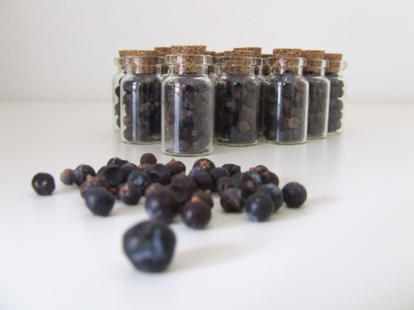 Dried juniper berries in bottles - lovely