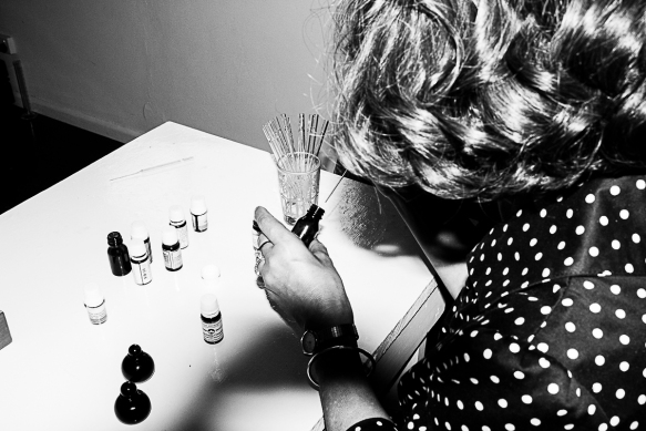 Candace, hard at work creating her beautiful perfumes